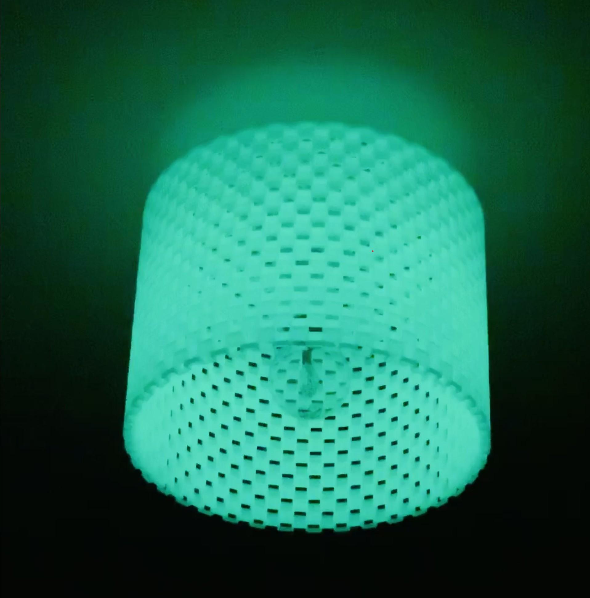 Gedruckter Lampenschirm aus unserem Glow-Grün PLA!