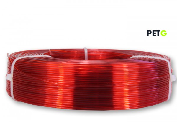 PETG Filament - 1,75 mm - Transparent Rot - Refill 850 g