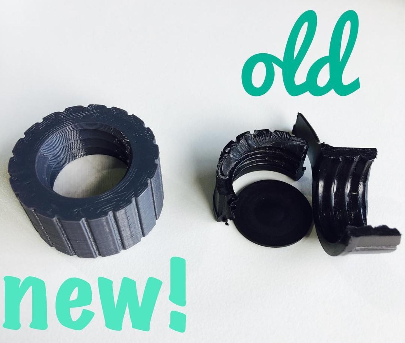 Nützliche 3D Drucke: Kaputter Kanisterdeckel? Lässt sich super durch einen stabileren gedruckten Deckel mit TPU Dichtung ersetzen =)
