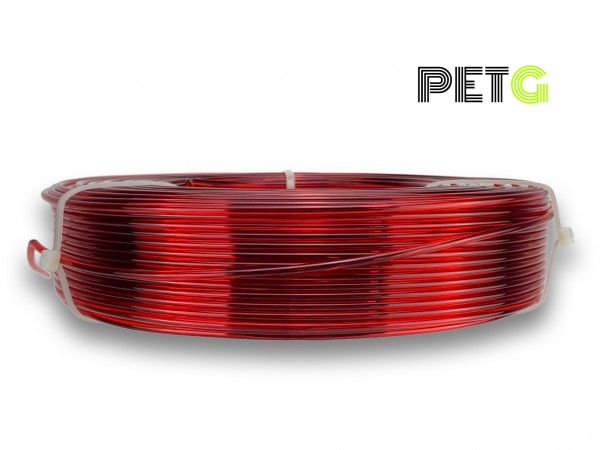 PETG Filament - 2,85 mm - Transparent Rot - Refill 800 g