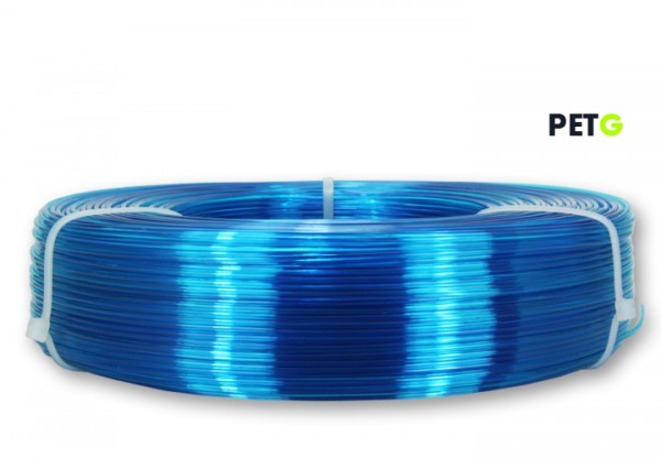PETG Filament - 1,75 mm - Transparent Blau - Refill 850 g